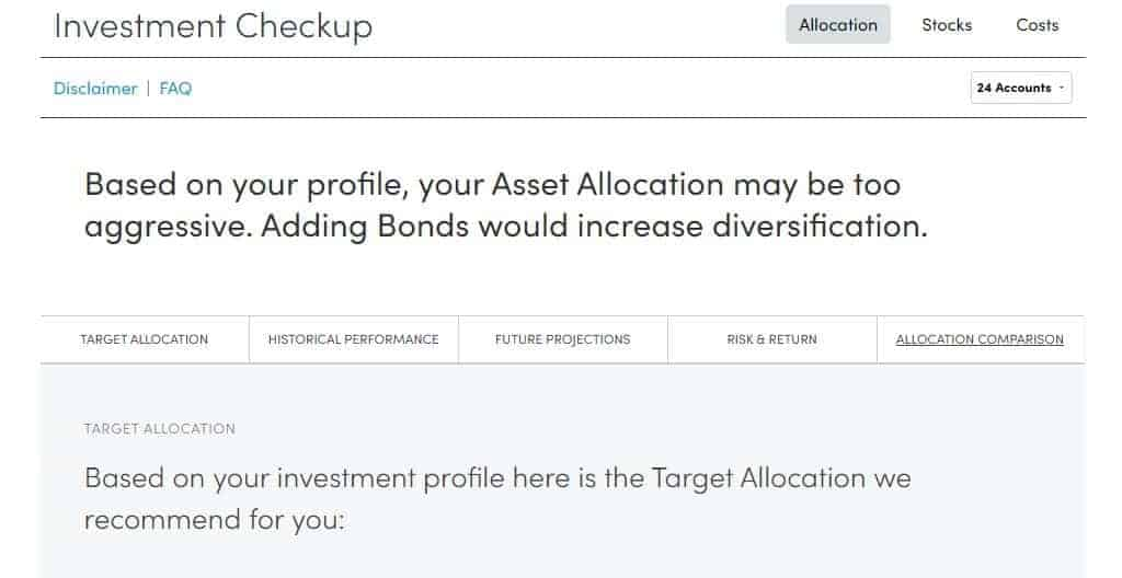 Personal Capital Investment Checkup Allocation