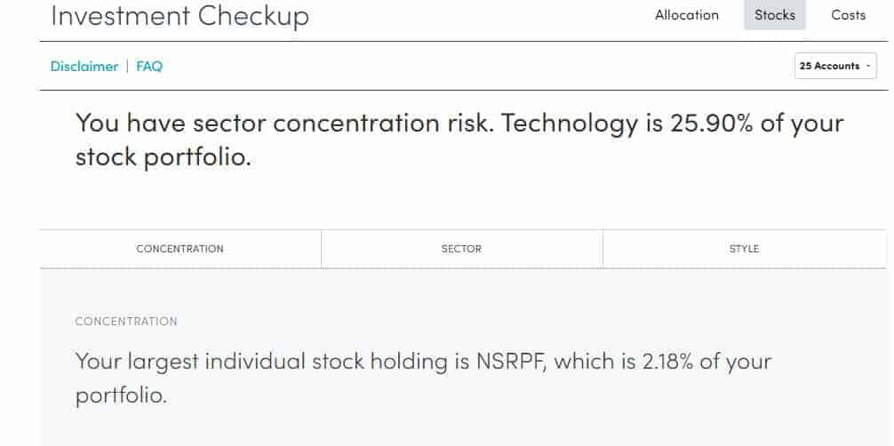 Personal Capital Investment Checkup Stocks